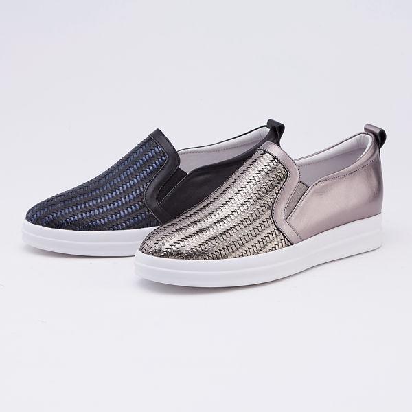 itabella.牛皮編織休閒鞋(9562-90藍黑色)