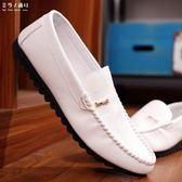 豆豆鞋 春季一腳蹬男士休閒鞋夏皮鞋豆豆鞋黑白色懶人男鞋潮流社會小伙鞋 米蘭