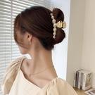 髪夾 金屬珍珠抓夾后腦勺大號盤髪抓頭髪夾子網紅2021年新款氣質髪卡子 3C數位百貨