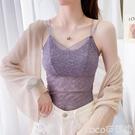 吊帶背心夏季女士韓版打底衫百搭短款小背心大碼內搭上衣抹胸薄款蕾絲吊帶  COCO