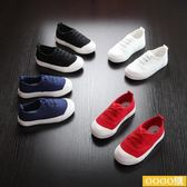 兒童帆布童鞋男童黑白色帆布球鞋
