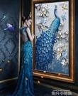 美式玄關裝飾掛畫孔雀客廳過道走廊臥室書房抽象壁畫現代簡約豎版QM 依凡卡時尚