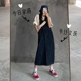 牛仔洋裝蔓柔夏季2021新款復古牛仔背帶裙女寬鬆韓版學生顯瘦中長款連身裙 伊蒂斯