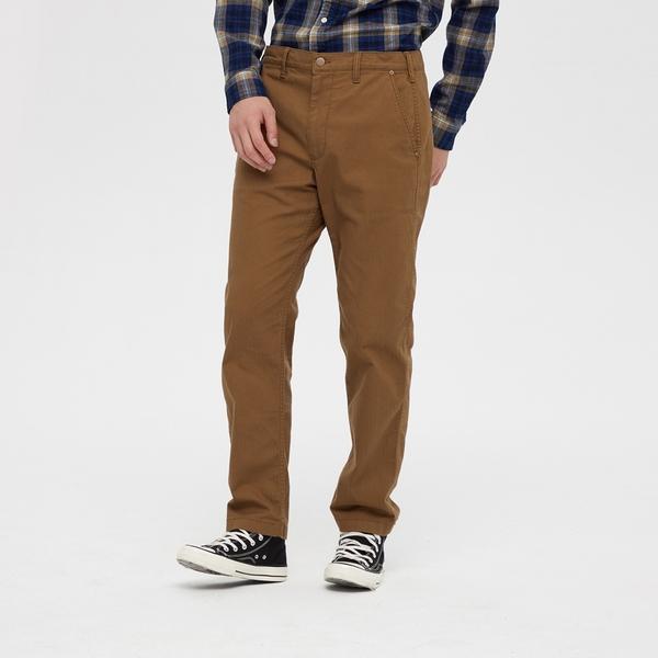 Gap男裝 簡約風格純色中腰休閒褲 618933-棕色