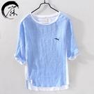 亞麻短袖t恤男夏季薄款寬鬆5分袖衣服日系潮流五分袖棉麻半袖體桖 快速出貨