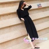氣質 洋裝長裙2020夏裝新款韓版黑色開叉長裙收腰顯瘦女【星時代生活館】