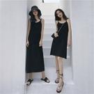 吊帶裙 炸街2021新款春夏打底裙子女吊帶裙連衣裙黑色中長款法式長裙內搭 小衣裡