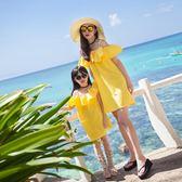 親子裝母女裝潮兒童沙灘裙夏女童連身裙海邊度假夏裝2018新款短裙   初見居家