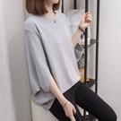 七分袖針織衫L-4XL夏裝冰絲薄款蝙蝠袖針織衫胖妹妹T恤上衣2F114.韓依紡