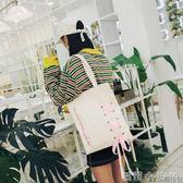 帆布袋蝴蝶結原宿風單肩包女粉色韓版帆布chic帆布包ins學生環保袋百搭 蘿莉小腳ㄚ
