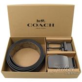 茱麗葉精品【全新現貨】COACH 22540 經典質感PVC牛皮雙面皮帶禮盒組.黑/咖