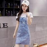 小雛菊牛仔背帶裙女裝2020年夏季新款裙子洋氣減齡套裝連身裙夏天 KP1870【花貓女王】