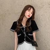 娃娃領上衣夏季2021年新款韓版短袖襯衫女設計感小眾短款外穿襯衣 【端午節特惠】