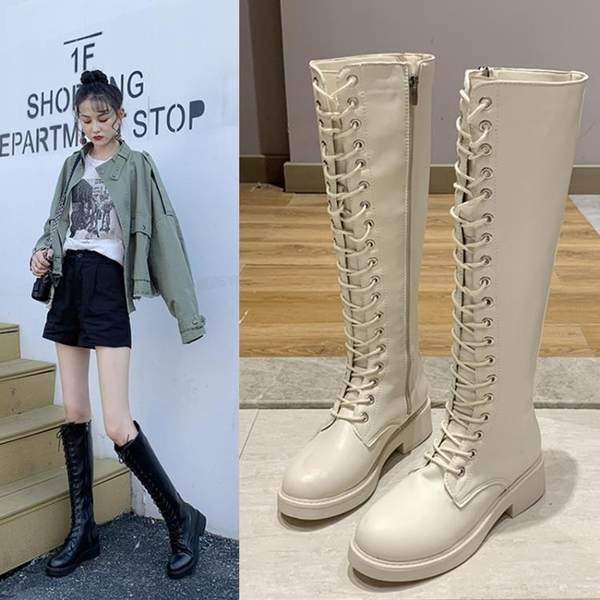 小個子長靴女2021新款秋季高筒過膝靴韓版前系帶騎士靴秋冬瘦瘦靴3C數位百貨