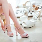 細跟涼鞋女鞋子春季新款韓版百搭魚嘴涼鞋一字扣細跟防水台高跟鞋紓困振興