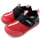 《7+1童鞋》中童 日本 IFME 透氣 魔鬼氈 排水孔 輕量  機能 水涼鞋 C475  紅色