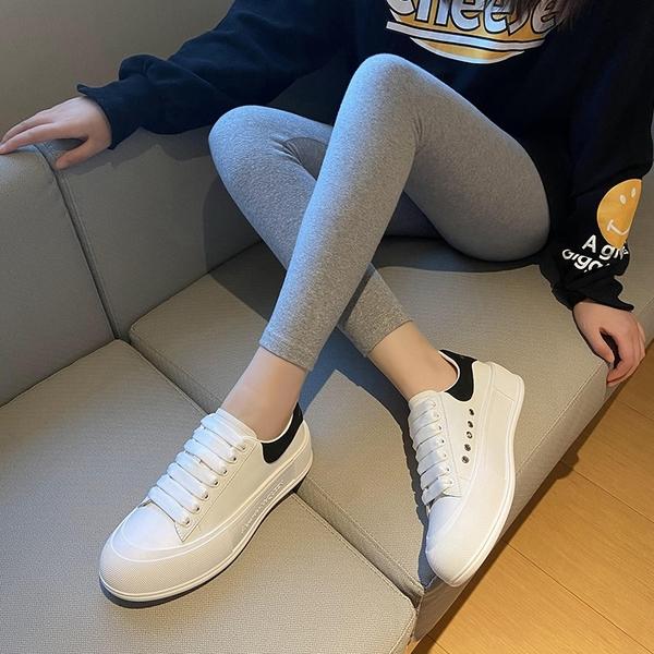 真皮手工女鞋 系帶小白鞋 厚底增高休閒鞋-夢想家-標準碼-0412