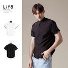 Casual 織帶設計 棉麻短袖襯衫-黑...