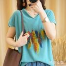 2020新款夏季針織衫棉質短袖女寬鬆薄半袖印花羽毛休閒針織大碼T恤 LR24148『毛菇小象』