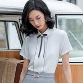襯衫領細曲線紋上班OL短袖襯衫(不含領結)[9S077-PF]美之札