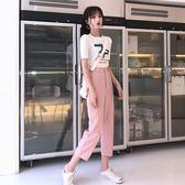 9339韓國Chic卡通印花短袖T恤 高腰可拆卸珍珠九分西裝褲DS4F-409-A紅粉佳人