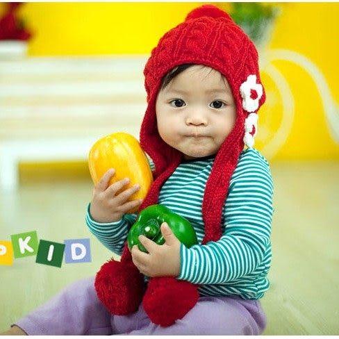 *甜蜜蜜親子童裝*甜美《花朵球球款》保暖圍巾帽