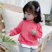 女童衛衣假兩件韓版潮秋款加絨上衣【聚可愛】