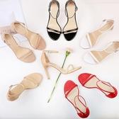 涼鞋女新款工作鞋女黑色一字帶扣細跟仙女職業高跟鞋百搭