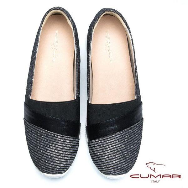 ★2017春夏★CUMAR  經典品味 異材質拼接瓶底包鞋(黑)