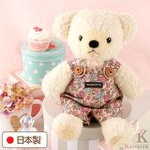 Hamee 日本製 手工 紅色碎花 吊帶褲 絨毛娃娃 玩偶禮物 泰迪熊 (奶油色/M) 640-197504