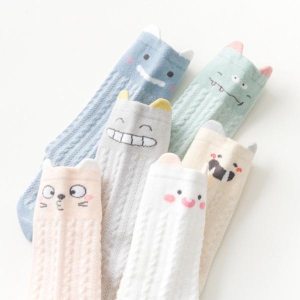 透氣薄款 小怪獸寶寶長筒及膝襪 襪子 寶寶襪 嬰兒襪 中筒襪 過膝襪 即膝襪 橘魔法 男童 女童
