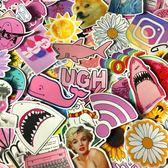 粉色可愛行李箱旅行箱貼紙少女ins風電腦杯子貼畫卡通小清新裝飾