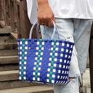 野餐用品收納筐編織菜籃子沙灘包買菜購物手提籃子網紅ins洗澡筐 一米陽光