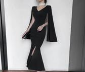 V領氣質中長款洋裝禮服連衣裙女初秋新款韓版時尚小黑裙