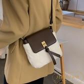 側背包水桶包可愛毛毛包包女時尚百搭單肩斜挎包【繁星小鎮】
