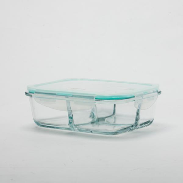 鮮食耐熱玻璃長三格保鮮盒1000ml-生活工場
