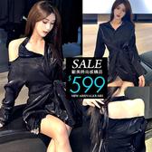 克妹Ke-Mei【ZT61503】SENSE性感鎖骨秋吊頸露肩法式名媛襯杉洋裝