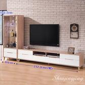【水晶晶家具/傢俱首選】肯詩特9呎烤白雙色L型電視櫃二件組(圖一)SB8219-1