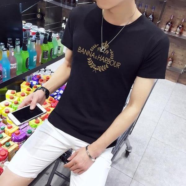 XXXL/D601黑色 短袖男t恤圓領 韓版修身印花上衣 時尚打底衫