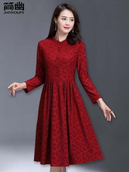 媽媽禮服 中老年春裝2020新款連身裙高貴喜婆婆婚宴禮服