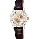 CITIZEN 星辰 經典日曆石英女錶-玫瑰金x咖啡/27mm EQ0599-20X