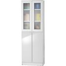 【藝匠】2尺兩玻璃門兩密門鏡面PU書櫃 書櫃 書房 房間 家具 櫃子 收藏 組合櫃 (白)