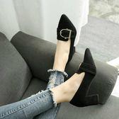 小清新高跟鞋女粗跟2018新款尖頭黑色工作鞋中跟潮流33小碼34女鞋 居享優品