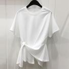 不規則上衣 正韓夏裝寬鬆白色純棉短袖上衣女不規則打結上衣體恤女-Ballet朵朵