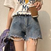 夏裝女裝韓版高腰寬鬆顯瘦做舊破洞牛仔褲寬管褲直筒褲短褲學生潮  檸檬衣舍