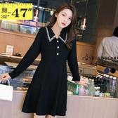 連身裙--優雅修身時尚毛邊排釦裝飾絆袖翻領長袖洋裝(黑.藍M-3L)-A404眼圈熊中大尺碼◎