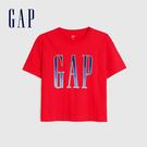 Gap女裝 Logo字母亮色圓領短袖T恤 582286-正紅色