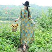 夏季棉麻印花套頭圓領文藝長款女生連身裙高腰寬鬆顯瘦中長裙 奇思妙想屋
