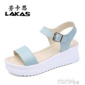 坡跟女涼鞋夏季新款真皮厚底鬆糕涼鞋女坡跟中跟休閒韓版百搭學生女鞋春季特賣
