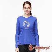 【wildland 荒野】女 彈性LOGO印花長袖上衣『紫羅蘭』0A91617 運動 露營 登山 吸濕 排汗 快乾